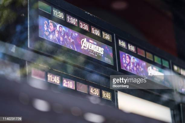 The schedule for the Avengers Endgame movie is displayed at a theater in Berkeley California US on Monday April 29 2019 The movie took in $122...