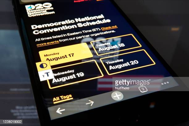 The schedule section of the website for the Democratic Convention is displayed the screen of a phone photographed on August 12 2020 in Philadelphia...