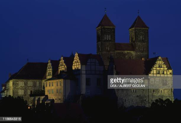 The Schlossberg and the church of St Servatius 11th12th century night view Quedlinburg SaxonyAnhalt Germany