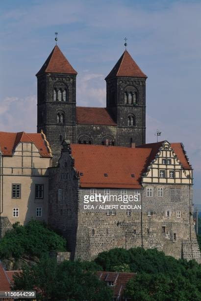 The Schlossberg and the church of St Servatius 11th12th century Quedlinburg SaxonyAnhalt Germany