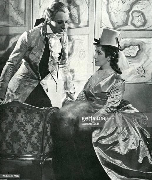 The School for Scandal by Richard Brinsley Sheridan. Performed at Queen's Theatre, London December 1937. John Gielgud as Joseph Surface and Peggy...