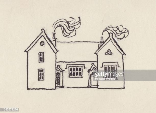 The School House, Little Bedwyn, 1980s. Design for a visiting card - the artist's home in Wiltshire, 1980s-1990s. Artist Shirley Markham.