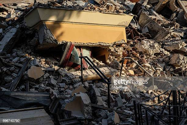 The school of Amatrice collapsed after earthquake in Amatrice on August 26, 2016. Central Italy was struck by a powerful, 6.2-magnitude earthquake in...