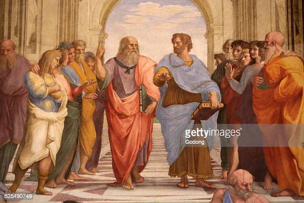 The School of Athens Detail of a mural by Raphael painted for Pope Julius IIIn the center Plato discourses with Aristotle Raphael Room of the...