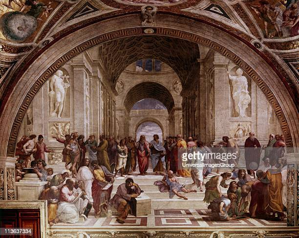 The School of Athens' showing Greek philosophers and scientist with Plato and his pupil Aristotle in the centre Raphael Raffaello Santi Italian...