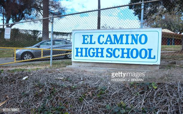 The school sign in front of El Camino High School in Whittier California on February 21 2018 where a threat by a student overheard by a school safety...