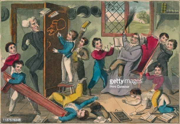 The Schoolmaster Abroad' 1832 The teacher returns to find his pupils creating mayhem in the classroom One draws a caricature of the teacher on the...