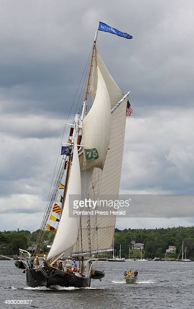 The schooner Nathaniel Bowditch sails through Boothbay Harbor on Wednesday June 27 2012 as part of the 50th annual Windjammer Days celebration in the...
