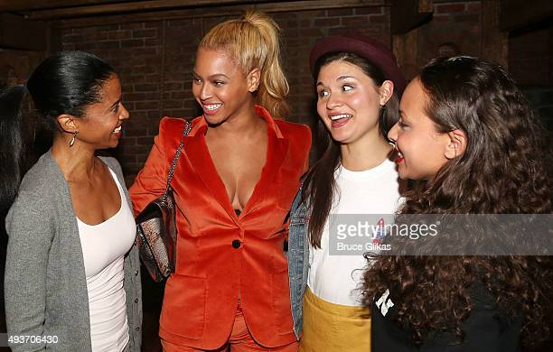 """The Schuyler Sisters"""" Renee Elise Goldsberry, Phillipa Soo and Jasmine Cephas Jones chat with Beyonce backstage at the hit musical """"Hamilton"""" on..."""