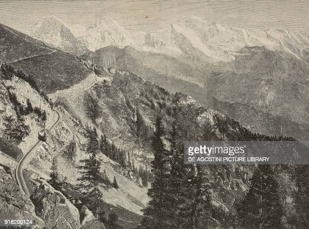 The Schynige Platte railway with the Jungfrau range in the background Switzerland engraving after a photo from L'Illustrazione Italiana Year XX No 34...