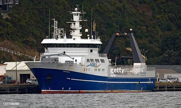 The scientific research vessel Tangaroa sits at Burnam Wharf in Evans Bay in Wellington on August 29, 2011 preparing to take the emperor penguin...