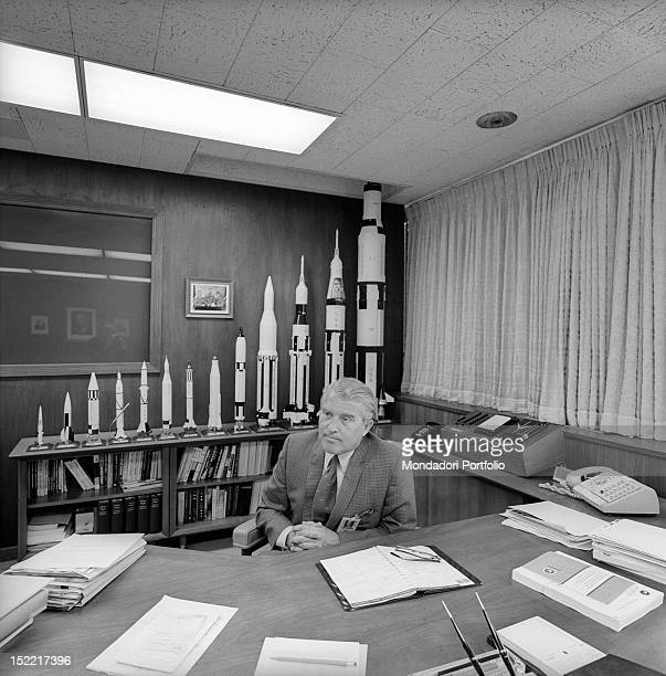 The scientist and aerospace engineer Wernher von Braun leading figure in the development of rocket technology in USA in his NASA office on his back...