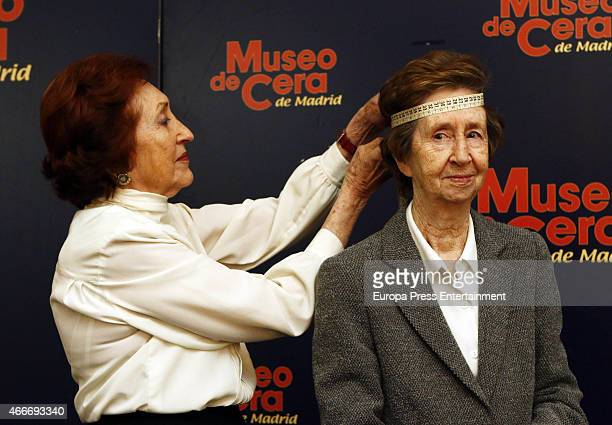 The scientist Margarita Salas gets measured for her waxwork that will display at Madrid Wax Museum on March 17 2015 in Madrid Spain