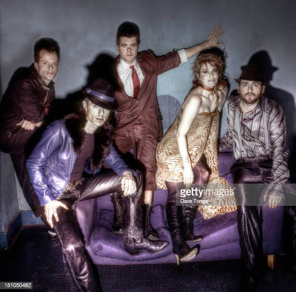 The Scissor Sisters portrait backstage at CDUK TV show London UK 2003 Left to right Paddy Boom Jake Shears Del Marquis Ana Matronic and Babydaddy