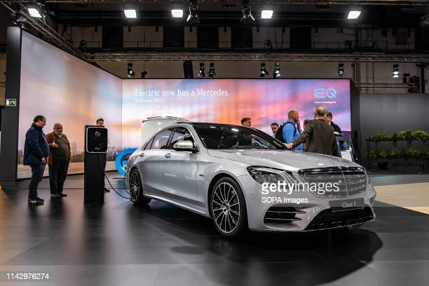 The SClass electric car equipped with the EQ system of the MercedesBenz vehicle manufacturer seen during the event The Automobile Barcelona trade...