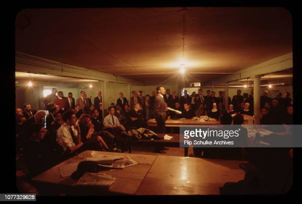 The SCLC leader C.T. Vivian teaches a class in non-violence for marchers in the basement of a black church in Selma.