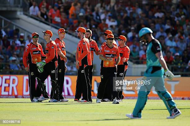 The Scorchers celebrate after taking the wicket of Peter Forrest of the Heat during the Big Bash League match between the Perth Scorchers and the...