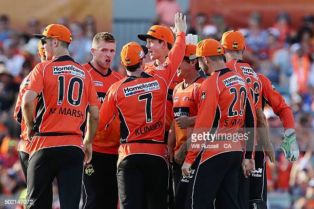 The Scorchers celebrate after taking the wicket of Tim Ludeman of the Strikers during the Big Bash League match between Perth Scorchers and Adelaide...
