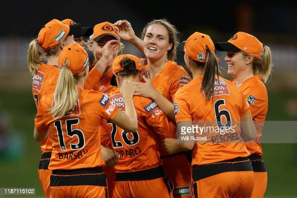 The Scorchers celebrate the wicket of Rachel Priest of the Thunder during the Women's Big Bash League match between the Sydney Thunder and the Perth...
