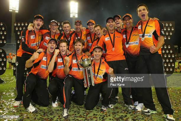 The Scorchers celebrate winning the Big Bash League Final match between the Perth Scorchers and the Hobart Hurricanes at the WACA on February 7 2014...
