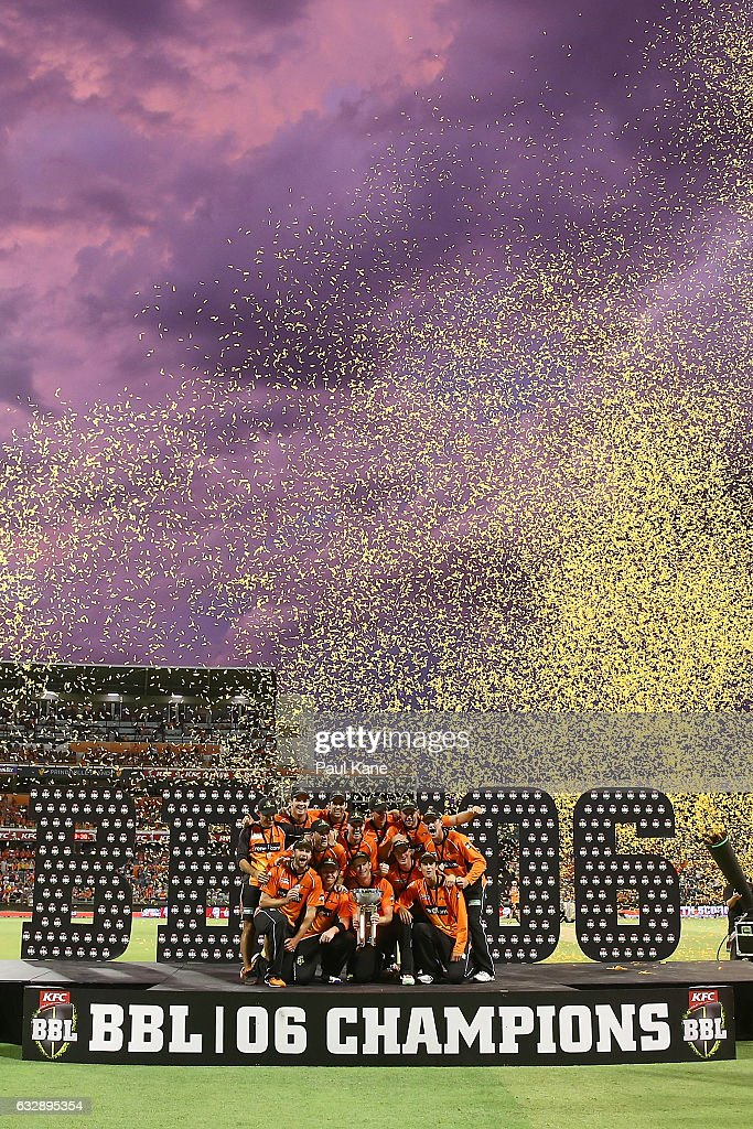 The Scorchers celebrate winning the Big Bash League match between the Perth Scorchers and the Sydney Sixers at WACA on January 28, 2017 in Perth, Australia.