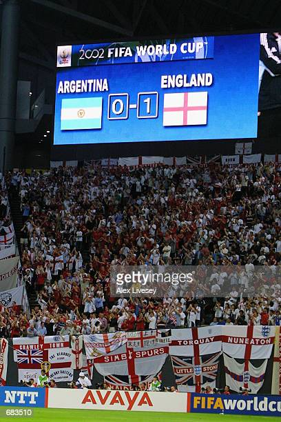 The score board after England won the Group F match against Argentina during the World Cup Group Stage played at the Sapporo Dome Sapporo Japan on...