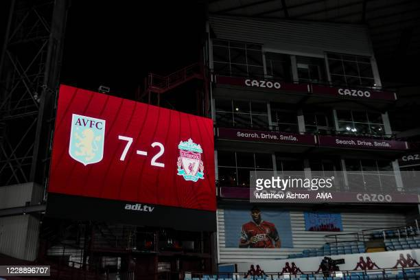 The score board at and empty Villa Park, home stadium of Aston Villa reads 7-2 at full time during the Premier League match between Aston Villa and...
