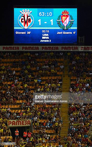 The score board at the El Madrigal Stadium shows the crests of Villarreal CF and Real Valladolid CF during the La Liga match between Villarreal CF...
