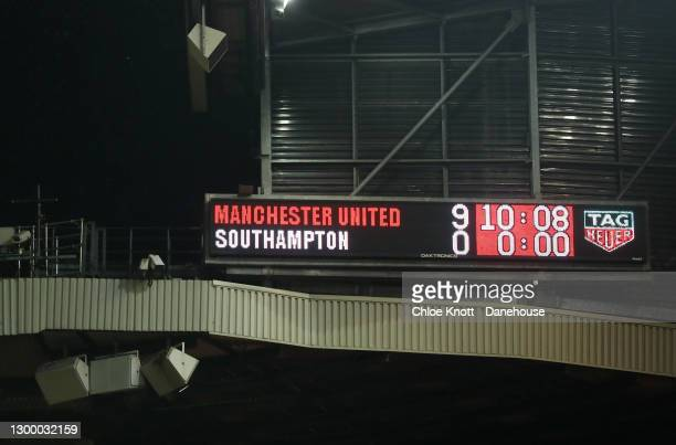 The score board at the end of the match showing the score 9-0 during the Premier League match between Manchester United and Southampton at Old...