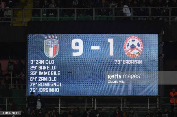 The score board during the UEFA Euro 2020 Qualifier between Italy and Armenia on November 18 2019 in Palermo Italy