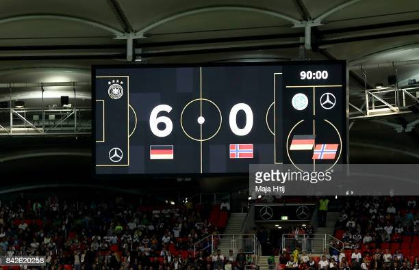 The score board is seen after the FIFA 2018 World Cup Qualifier between Germany and Norway at MercedesBenz Arena on September 4 2017 in Stuttgart...