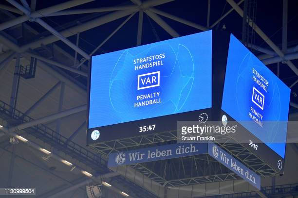 The score board is seen during the UEFA Champions League Round of 16 First Leg match between FC Schalke 04 and Manchester City at VeltinsArena on...