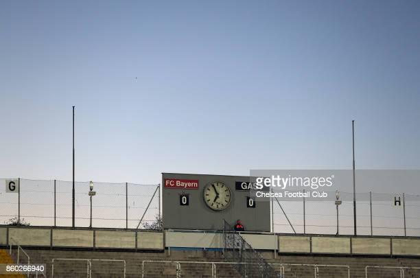 The score board of the Stadion at the Gruenwalder Strasse is pictured before the Champions League round of 32 second leg match between FC Bayern...