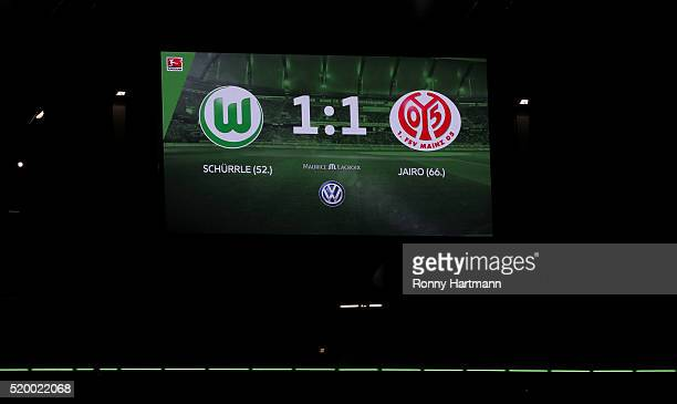 The score board shows the 11 draw after the Bundesliga match between VfL Wolfsburg and 1 FSV Mainz 05 at Volkswagen Arena on April 9 2016 in...