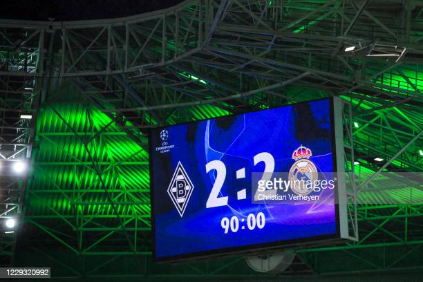 The Score board shows the endresult after the Group B - UEFA Champions League match between Borussia Moenchengladbach and Real Madrid at...