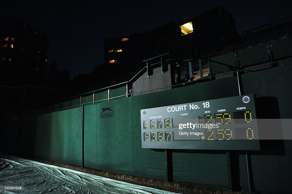 The score board the from during the Nicolas Mahut and John Isner match is seen after play had been suspended on Day Three of the Wimbledon Lawn Tennis Championships at the All England Lawn Tennis and Croquet Club on June 23, 2010 in London, England. The match became the longest in Grand Slam history.