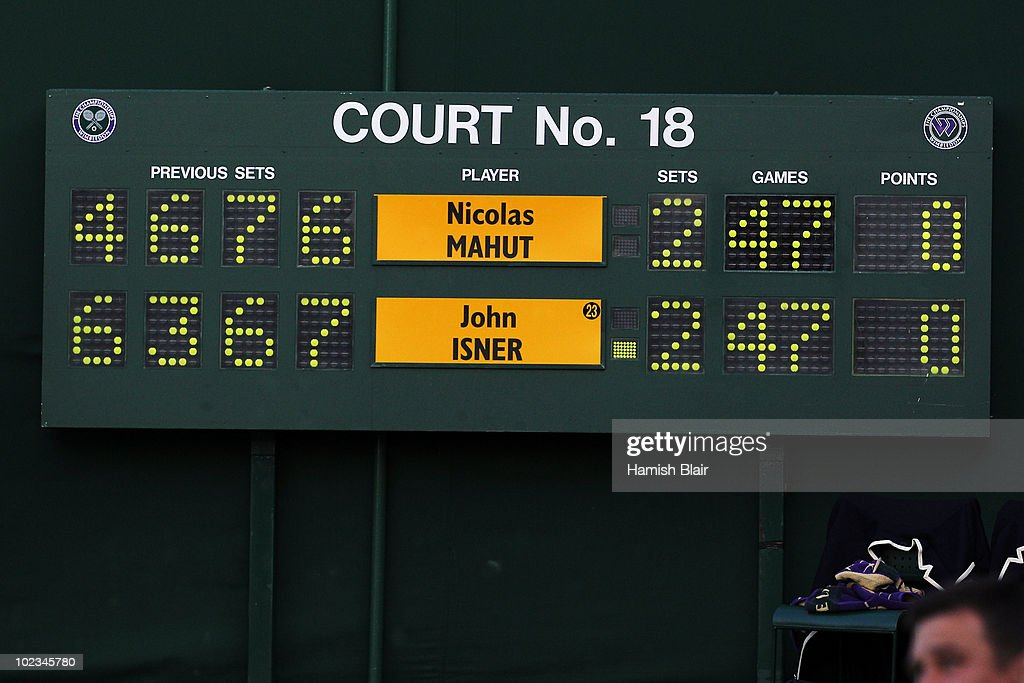 The score board with the last statistics before breaking during the Nicolas Mahut and John Isner match on Day Three of the Wimbledon Lawn Tennis Championships at the All England Lawn Tennis and Croquet Club on June 23, 2010 in London, England. The match became the longest in Grand Slam history.