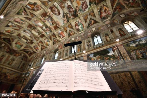 The score for the double bass of the sir James MacMillians Stabat Mater is pictured prior to the British composer Harry Christophers conducts in a...