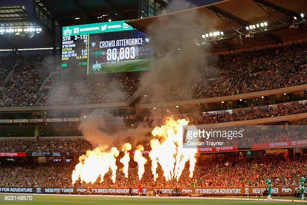 The scoreboad shows the record attendance for a domestic game in Australia during the Big Bash League match between the Melbourne Stars and the...