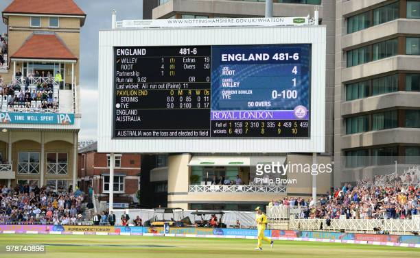 The scoreboard after England scored 481 runs in their innings during the third Royal London One-Day International match between England and Australia...