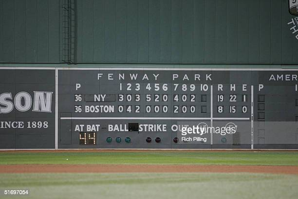 The scoreboard after game three of the ALCS between the New York Yankees and the Boston Red Sox at Fenway Park on October 16, 2004 in Boston,...
