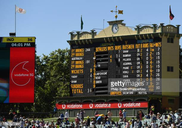 The scoreboard after India were dismissed for 36 runs during day three of the First Test match between Australia and India at Adelaide Oval on...
