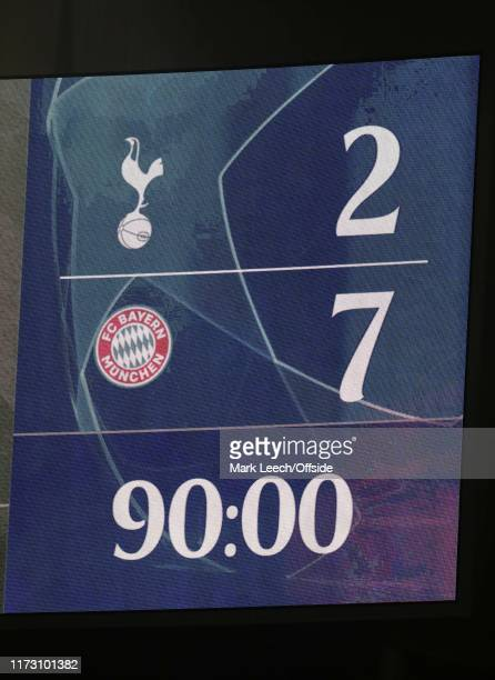The scoreboard after ninety minutes showing the shocking scoreline during the UEFA Champions League group B match between Tottenham Hotspur and...