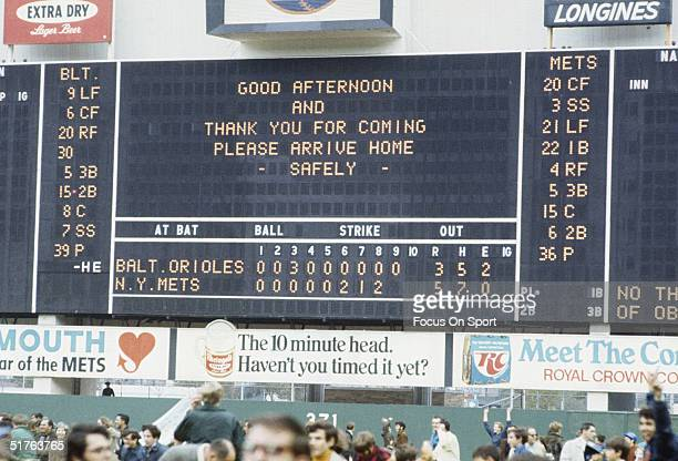 The scoreboard after the final cut during the 1969 World Series featuring the New York Mets v the Baltimore Orioles at Shea Stadium in Flushing New...
