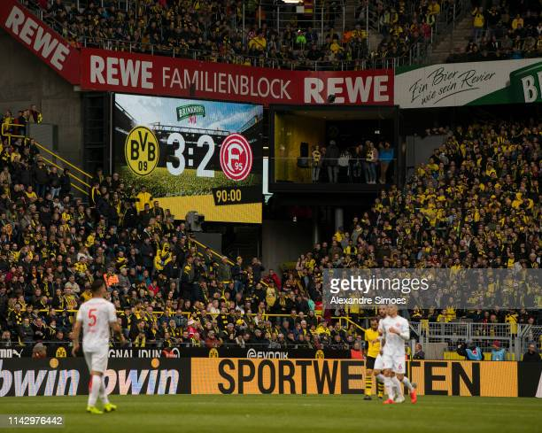 The scoreboard after the final whistle during the Bundesliga match between Borussia Dortmund and Fortuna Duesseldorf at the Signal Iduna Park on May...