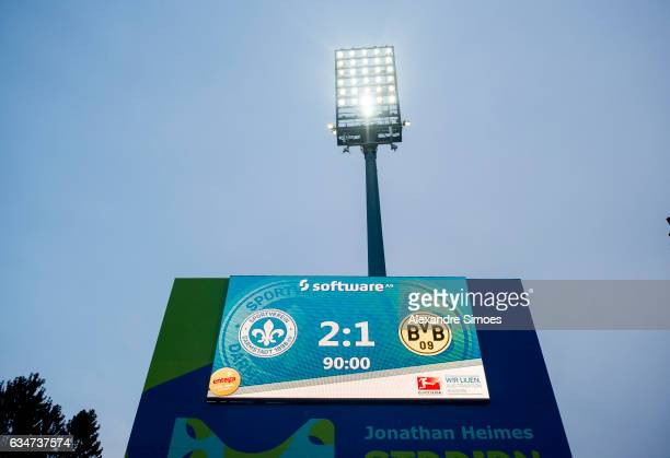 The scoreboard after the final whistle during the Bundesliga match between SV Darmstadt 98 and Borussia Dortmund at the Stadion am Boellenfalltor on...