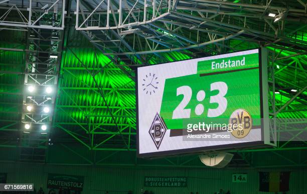The scoreboard after the final whistle during the Bundesliga match between Borussia Moenchengladbach and Borussia Dortmund at the BorussiaPark on...