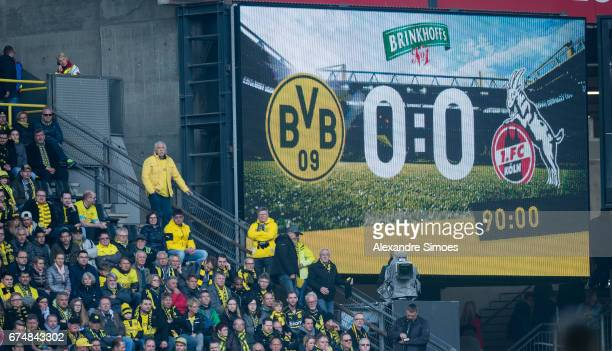 The scoreboard after the final whistle during the Bundesliga match between Borussia Dortmund and FC Koeln at Signal Iduna Park on April 29 2017 in...
