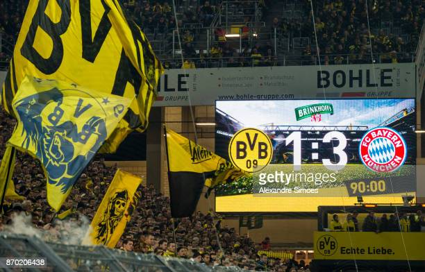 The scoreboard after the final whistle during the Bundesliga match between Borussia Dortmund and FC Bayern Muenchen at the Signal Iduna Park on...