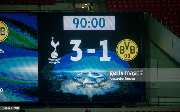 The scoreboard after the final whistle during to the UEFA Champions League First Qualifying Round 1st Leg match between Tottenham Hotspur and...